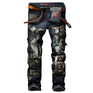 Men's Ripped Jeans Men Pants With Patchwork Punk Style Denim Trousers For Female Slim Fit With Rivets Biker Classic Jeans