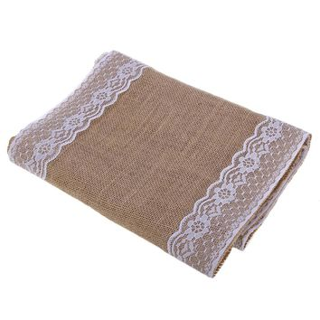 Burlap Lace Hessian Table Runner Natural Jute Wedding Festival Decoration
