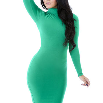 Jade Turtleneck Midi Dress