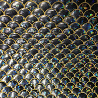 mermaid scales spandex fabric sold by the yard- gold and black