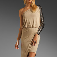 Mason by Michelle Mason Asymmetric Dress with Leather Sleeve in Camel from REVOLVEclothing.com