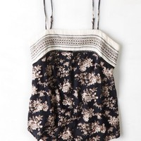 AEO 's Pattern Blocked Tank (Black)