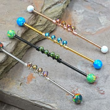 16g Opal Industrial Barbell