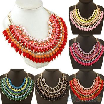 Multilayer Briaded Rope Chain Beads Fringe Charm Hot Statement Necklace Women 1QC4