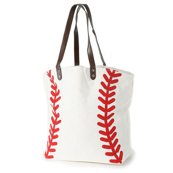 Knitpopshop Baseball Canvas Tote Bag Handbag Large Oversized