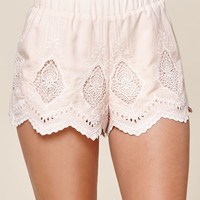 Scalloped Crochet Inset Soft Shorts