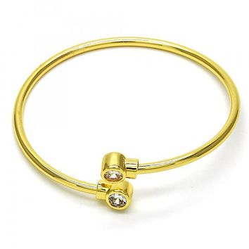 Gold Layered 07.233.0001 Individual Bangle, with White Cubic Zirconia, Polished Finish, Golden Tone (03 MM Thickness, One size fits all)
