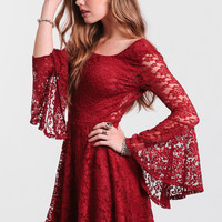 Be A Doll Lace Dress In Burgundy