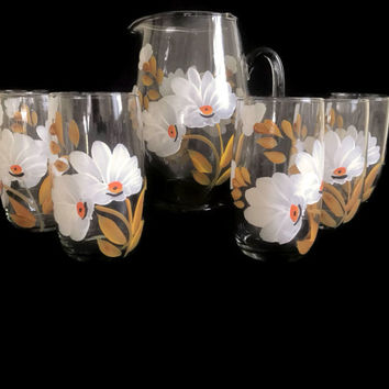Vintage Glass Pitcher Set with Six Handpainted Drinking Glasses White Flowers Yellow Ochre Leaves Vintage Kitchen Ice Tea Set Spring