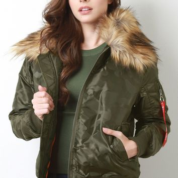 Faux Fur Collar Jacket Bomber Jacket With Fur Collar Remove Before Flight Jacket By Bomber | Remove Before Flight Camo Fur Collar Bomber Jacket