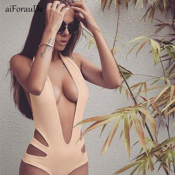 Sexy Bandage One Piece Swimsuit Women Solid Swimwear Halter One-piece Hollow Out 2018 Bathing Suit Bodysuit High Cut Monokini