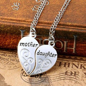 New 2 Pcs/Set Silver Mom Mother & Daughter Love Heart Pendant Charm Chain Necklace BDJM