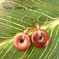Sunstone gemstone earrings. Copper wire wrapped gemstones.