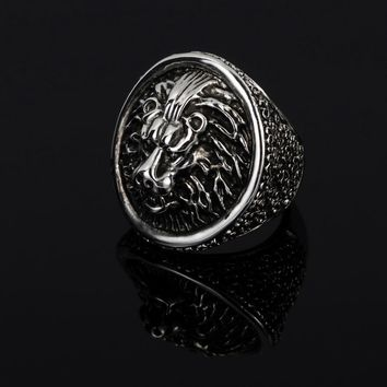 Tibetan Silver Color Large Lion Men Rings Jewelry Vintage Animal Big Male Ring Finger Accessories Anillos Bague Hombre R0239