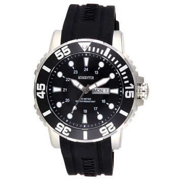 Momentus FS311S-04RS Men's Functional Sport Black Dial Black Rubber Strap Quartz Watch