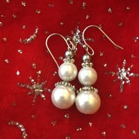 Beaded Snowman Earrings - White and Silver