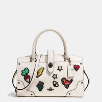 Mercer Satchel 24 in Grain Leather With Souvenir Embroidery