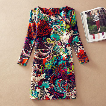 Plus Size Women Clothing 2016 Spring Fall Fashion Flower Print Women Dress Ladies Long Sleeve Casual Autumn Dresses Vestidos