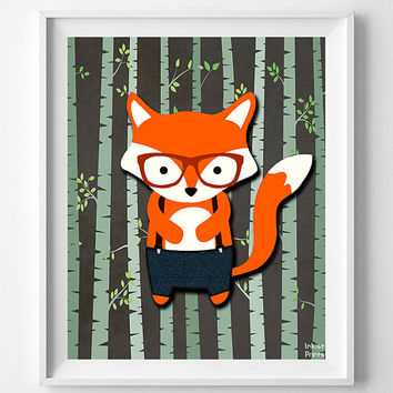 Animal Nursery Print, Woodland Fox, Fox Art, Wall Art, Animal Nursery Decor, Hipster Fox, Baby Room Print, Giclee Poster, Christmas Gift