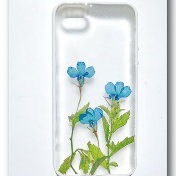 Handmade iPhone 5 case, Resin with Real Flowers, TPU soft side