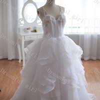 Fashion 2014 spring wedding dress with straps and pearls beads ,prom dress