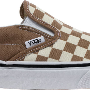 CLASSIC SLIP ON CHECKERBOARD MENS SKATEBOARDING SHOE (TAN/OFF WHITE)
