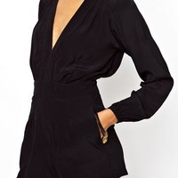 Black Long Sleeve Plunge Neckline Playsuit