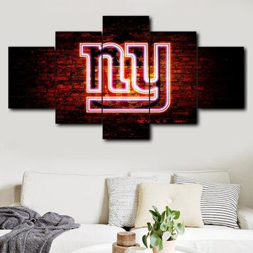 5 Panel Painting Canvas Wall Art New York Giants Sports Logo Modular Picture HD Print Home Decor Living Room