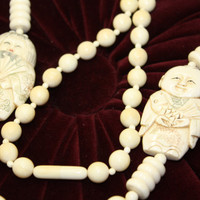 Antique Necklace Brides 193O JAPANESE Faux IVORY Ox by patwatty