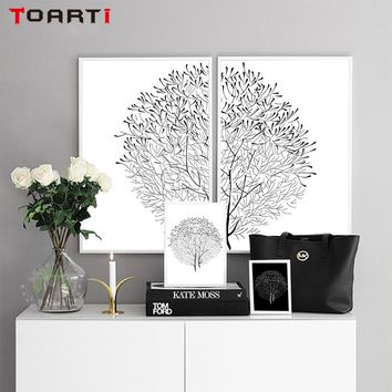 4 Piece Modern Minimalist Black and White Panels Trees Canvas Flower Painting Posters And Prints Wall Art Pictures Home Decor