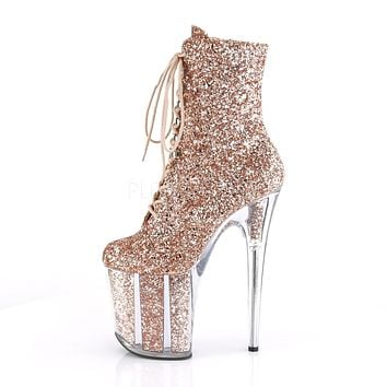 "Flamingo 1020G Rose Gold Glitter - 8"" Heel Ankle Boot"