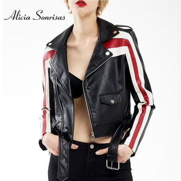 Autumn New Leather Jacket Famale 2018 Women Printing White Red Stripe Casual OL Motorcycle Black Simple Coat AS1004
