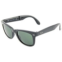 Cheap Ray-Ban Men's Folding Wayfarer Sunglasses, Black/Green, One Size outlet