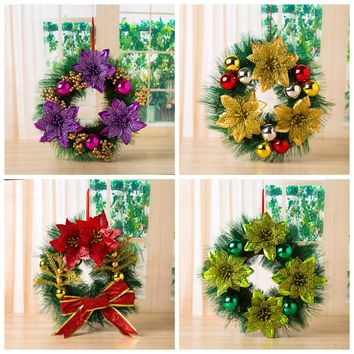 Christmas Wreath For Home Leaf Door Wall Decoration Window Ornament Garland Wreath Christmas Gift Xmas Ornament Navidad 2018 #9