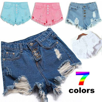 2015 European and American High-Waisted Hole Denim Candy Color Summer Female Shorts = 1929703940