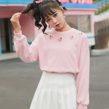 Harajuku Strawberry Embroidery Loose Ulzzang Sweatshirt Spring 2018 Harajuku Kawaii Fruit Tops Women Sweatshirt L'666