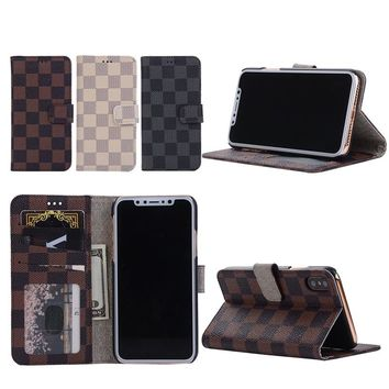 Mobilephone Wallet Case for iPhone 5 5S SE 6 6S 7 8 Plus X 10 Fashion Plaid Flip Cover Cash Money Cards Photo Holder Purse Bag