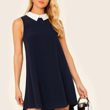 Contrast Collar High Low Hem Sleeveless Dress