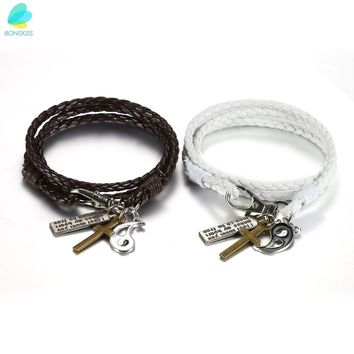 BONISKISS Handmade Couple Lovers Leather Bracelet With Cross Yin Yang Charm Multi-layer (pair) Fashion Bangles Jewelry Bracelets