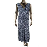 Charter Club Womens Jersey Printed Maxi Dress