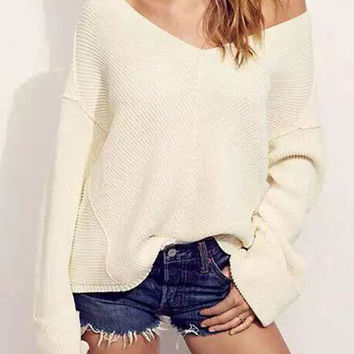 V-Neck Batwing Sleeve Loose Sweater