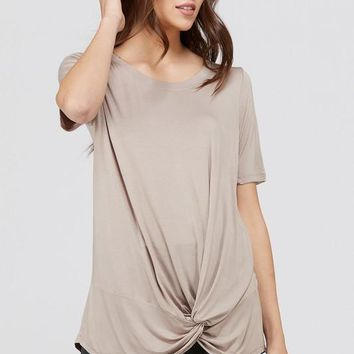 Taupe Twisted Knot Tee