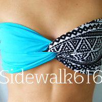 Turquoise and Tribal Bandeau Top Spandex Bandeau Bikini (SKINNY BACK)