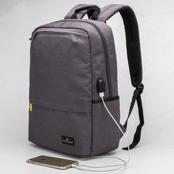 USB Charging Grey Backpack College Students Schoolbag 15.6 Inch Laptop Backpack British Style Smart
