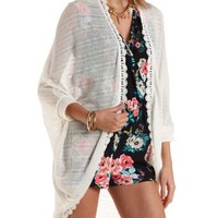 Crochet-Trim Sweater Knit Cocoon Cardigan by Charlotte Russe - Ivory