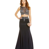 Terani Couture Prom Illusion Beaded Top Two-Piece Mermaid Gown | Dillards