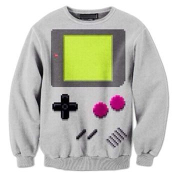 Nintendo Game Boy All Over Print Crew Neck Pullover Sweater in Grey | DOTOLY