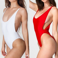 Sexy High Cut Cut-Out Backless One Piece Swimwear