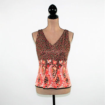 77a1bc810c39b Silk Knit Top Sleeveless Top Summer Top Women Medium Empire Waist Paisley  Print Coral Brown Floral