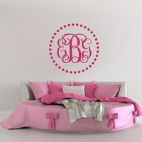 """Personalized Monogram Wall Decal- Family Monogram Decal- Wedding Monogram Decal- Custom Monogram Decal- Initial Wall Decal Monogram M075 (18"""" Tall x 18"""" Wide)"""